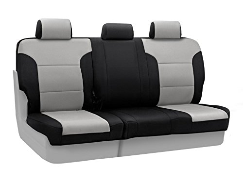 Coverking Custom Fit Rear 60/40 Bench Seat Cover For Select Toyota Tundra Models - Neosupreme 2-Tone (Gray With Black Sides) front-192215