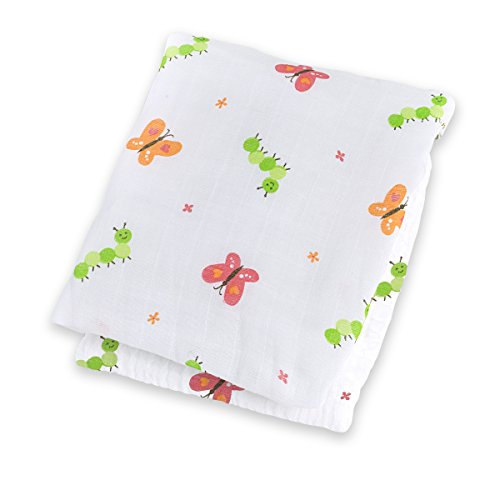 "Lulujo Baby Muslin Cotton Swaddling Blanket, Garden Party, 47"" x 47"" - 1"