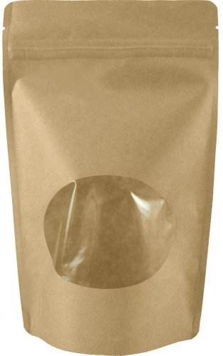 50 Natural Kraft Stand-up Zip Pouch with Window (Small (5 1/8″W x 8 1/8″H))