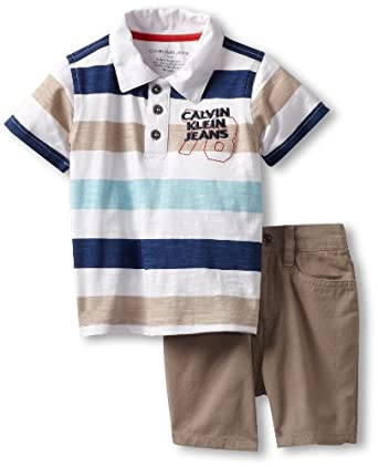 Calvin Klein Baby-boys Infant Stripes Polo Shirt With Shorts, Blue, 18 Months