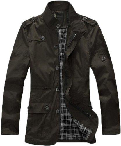 Men's Classic England style Fashion Stylish Coats Jackets Outwear (XX-Large, Black(Thin Style))