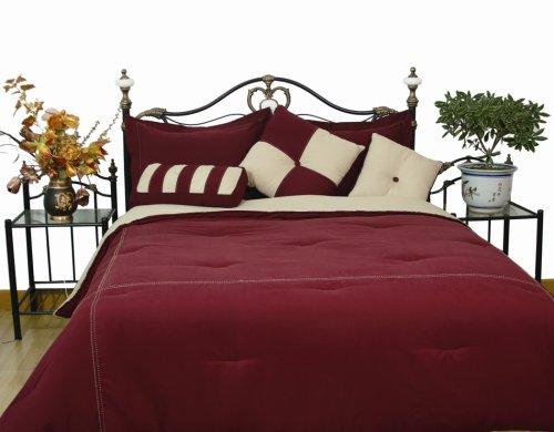 Microfiber California King Comforter Set, Burgundy / Khaki front-49482
