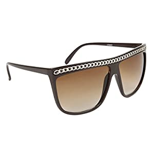 Various Clrs Lady Gaga Inspired Square Sunglasses W/ Gold Chain Lining The Top (Brown)