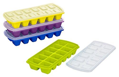 Haushaltsdose Plast Team - Vassoio per cubetti di ghiaccio con coperchio, confezione da 4