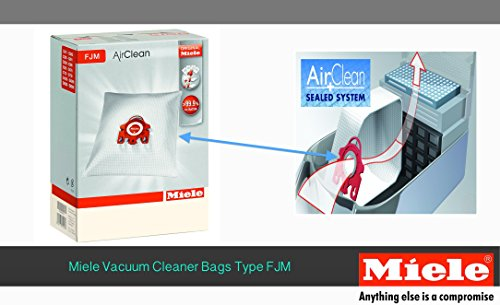 Miele Vacuum Cleaner Bag, type FJM AirClean for models S700-S758 S4000-S4999 S6000-S6999 - 4 Pack (Miele Dust Bags Fjm compare prices)
