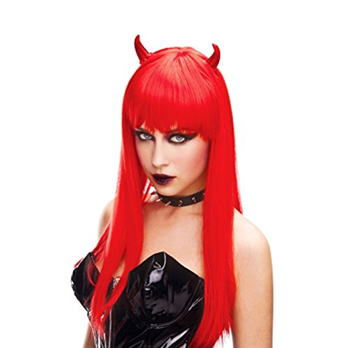 Adorox Red Horn Devil Woman's Wig Demon Angel Halloween Costume Prop (Horns Costume Wig)