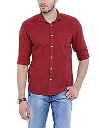 Bandit Maroon Slim fit Linen Solid Shirts