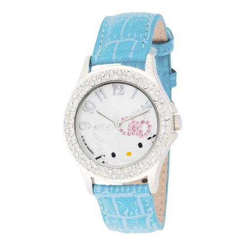 Hello Kitty Kids' HK1251 Oversize Stoned Out Case Blue Strap Analogue Watch