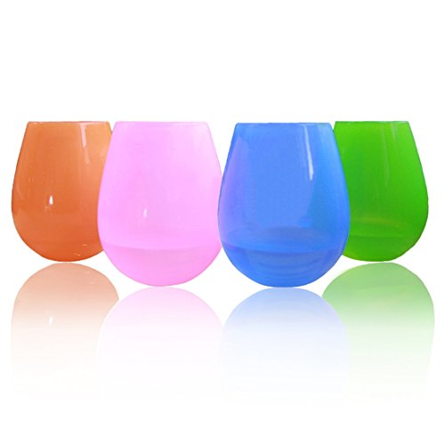 ThreeCat Unbreakable Silicone Wine Glasses Premium Food Grade Stemless Drinking Cups (Multicolored, 12OZ) Cobalt Carnival Glass