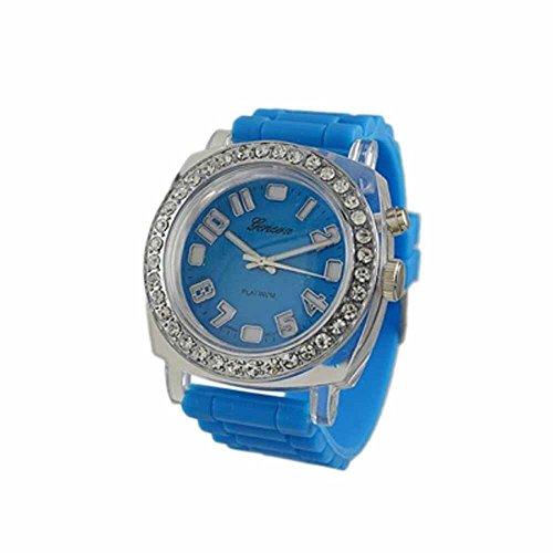 Geneva Platinum Silicone Rubber Cz Light Up Watch Blue