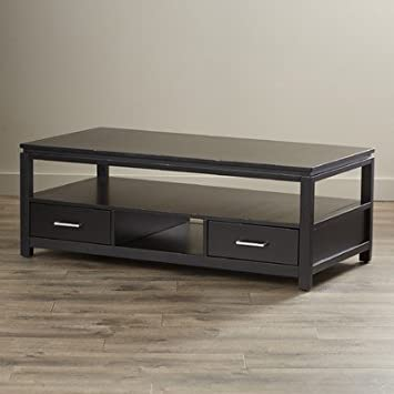 Belleair Coffee Table with Open Storage and Two Drawers It Has Solid, Clean, Modern Design and Classy Good Looks, It Will Go with All Modern Decors Comes in Black Finish