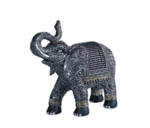 Thai Elephant Silver Colored - Poly Resin Figurine - Width 11 inches - Height 10.25 inches