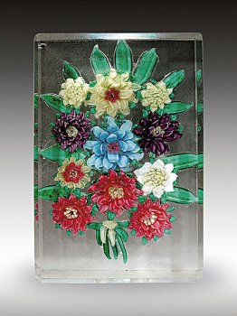 Antique Russian Antique Floral Bouquet Plaque Paperweight, circa 1840-1860