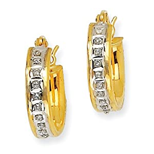 Genuine IceCarats Designer Jewelry Gift Sterling Silver & Gold-Plated Dia. Mystique Round Hoop Earrings In Sterling Silver