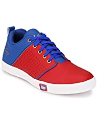 Knoos Men's Synthetic Leather Red Sneakers (CR-7010-RDBLU)