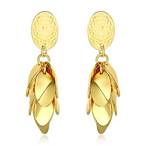 [Aomily Jewelry 18K Gold Plated Drop Earrings For Womens Gold Leaves Cluster Petala Gold] (Welcome To The Black Parade Costume)