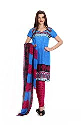 Parchayee Women's Blue Printed Crepe Dress Material