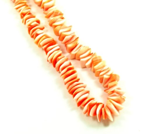 20-inch Red Coral Puka Chip Surfer Necklace
