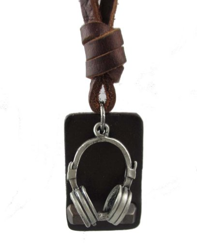 Ftbstyle Stylish Audio Headphones Pendant Choker Brown Genuine Leather Necklace
