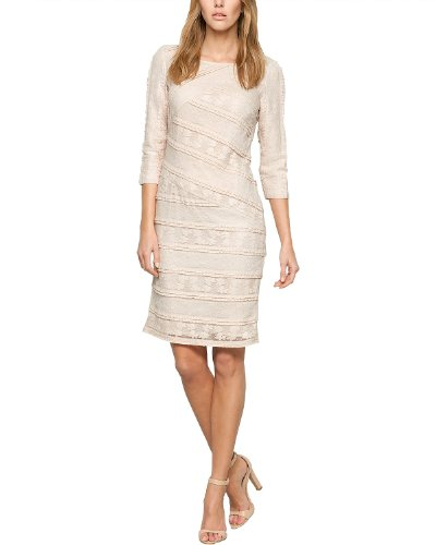 Comma Damen Cocktail Kleid 89.404.82.4727, Mini, Einfarbig, Gr. 34, Beige (powder)