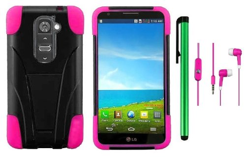 Lg G2 Model Vs980 (Verizon Only) Premium T-Stand Protector Hard Cover Case + 3.5Mm Stereo Earphones + 1 Of New Metal Stylus Touch Screen Pen (Pink / Black)