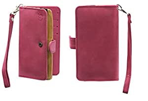 J Cover A9 Nillofer Leather Carry Case Cover Pouch Wallet Case For Panasonic P75 Pink