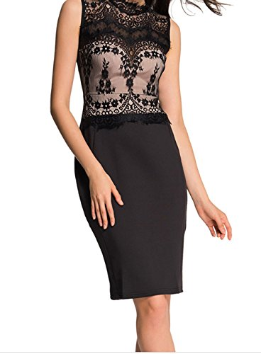 DH-MS Dress Women's Glamorous Lace Detail Black Bodycon Dress L (Phase Liner Glove compare prices)