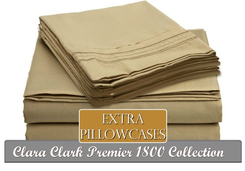 Clara Clark ® Premier 1800 Collection 6 Piece Bed Sheet Set, Includes Extra Pillowcases, King Size, Camel Gold front-953619