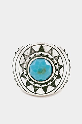 Trendy Fashion Jewelry Tribal Textured Round Stone Stretch Ring By Fashion Destination | (Turquoise)