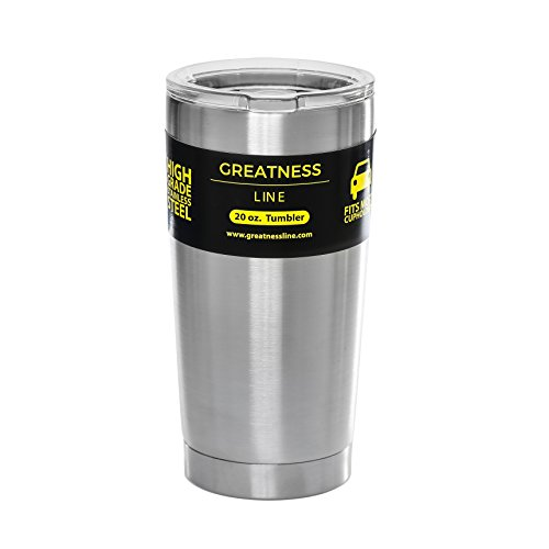 Greatness Line 20 oz Stainless Steel Tumbler with Lid - Double Wall Insulated Travel Cup
