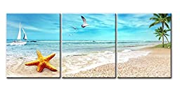 Canvas Print Wall Art Painting For Home Decor Seascape Of Sandy Beach With Palm Trees Golden Starfish Sea Gull Flying In The Sky And Sailing Boat In Blue Sea 3 Pieces Panel Paintings Modern Giclee Stretched And Framed Artwork The Picture For Living Room D
