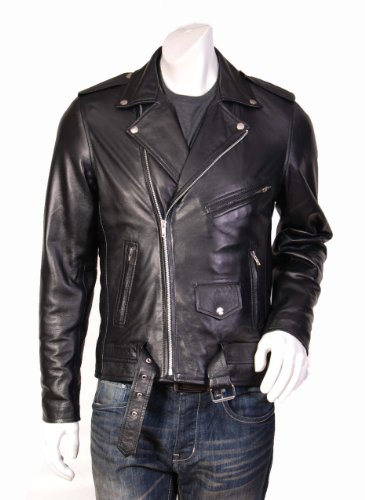 Mens Famous Biker Style Leather Jacket Johnny Black Fitted Biker Leather Jacket (S)