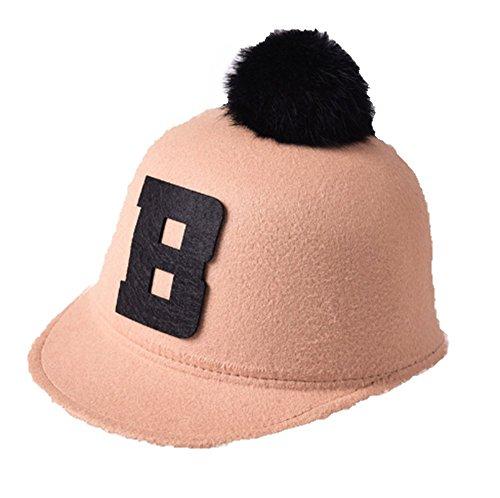 [Qingsun Kids Children Baby Retro Hat,Felt Woolen Peaked Rabbit Fur POM POM Alphabet Equestrian Baseball Adjustable Cap] (Equestrian Costume Hat)