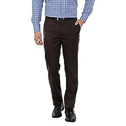Zido Men'S Slim Fit DBrown Formal Trouser_ZI15045_DBrown
