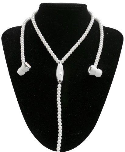 Wci Jewel Phones - Fashionable Jewelry Necklace With Quality Stereo Earphones And Microphone - Connect To Ipod, Iphone, Droid, Blackberry, Mp3 Player And All 3.5Mm Audio Devices - White Pearls
