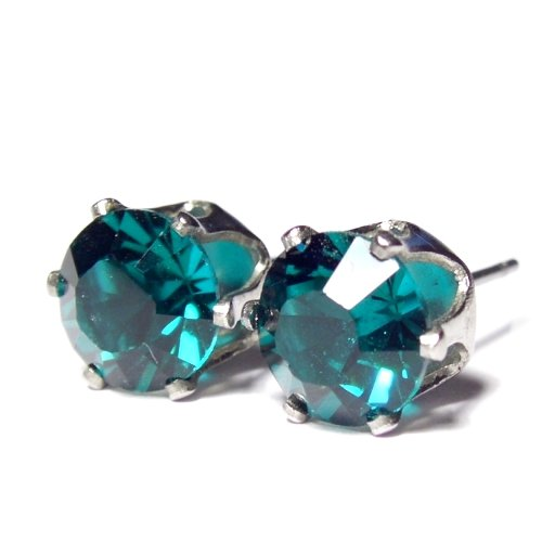 Men's 8mm Silver Plated Stud Earrings set with Xilion blue zircon Swarovski Crystal. Gift Box. Beautiful jewellery for very special people.