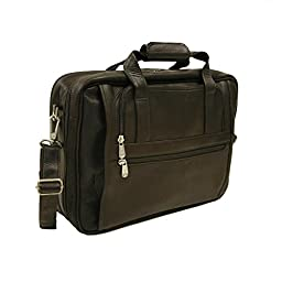 Piel Leather Large Ultra Compact Computer Bag, Chocolate, One Size