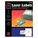 """Laser Mailing Labels, 1-1/3""""x4"""", 1400, Bright White"""