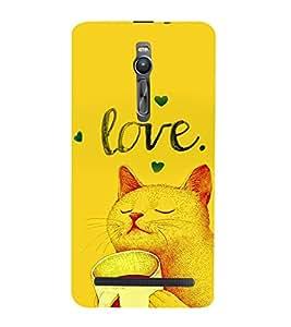 PrintVisa Cute Cartoon Kitty Romantic Love 3D Hard Polycarbonate Designer Back Case Cover for Asus Zenfone 2