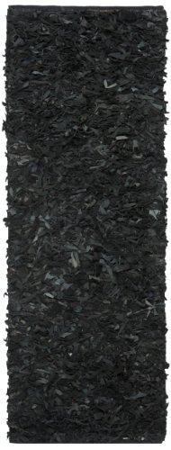 Safavieh Leather Shag Collection LSG511A Hand Woven Black Leather Runner, 2 feet 3 inches by 11 feet (2'3