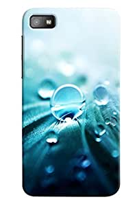 Omnam Water Drops With Blue Effect Printed Designer Back Cover Case For BlackBerry Z10