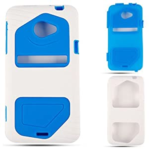 HTC EVO 4G LTE Pc Jelly Light Blue White Case Cover Hard Housing Skin Protector