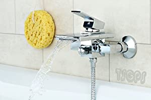 Wasserfall Armatur Schwall Auslauf eckiger Griff Badewanne Chrom Lexi   Kundenbewertung und weitere Informationen