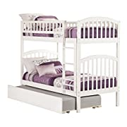 Atlantic Furniture Richland Bunk Bed with Urban Trundle, Twin Over Twin, White