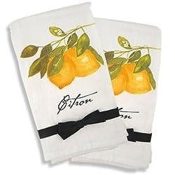 """French Country Kitchen Flour Sack Towel Set of 2 - """"Citron"""" (Lemon)"""