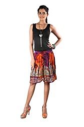 Indiankala4u Ethnic Design Crushed Cotton Short/Mini Skirt ,Multicolor