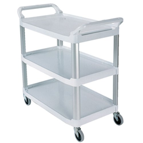 Rubbermaid Commercial 4091 HDPE Service Cart, 3 Shelves, Off White, 300 lbs Load Capacity, 37-13/16