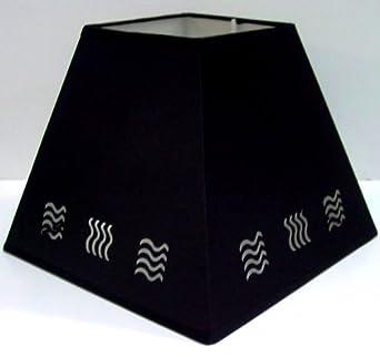 "14"" BLACK WAVE STENCIL LAMPSHADE"