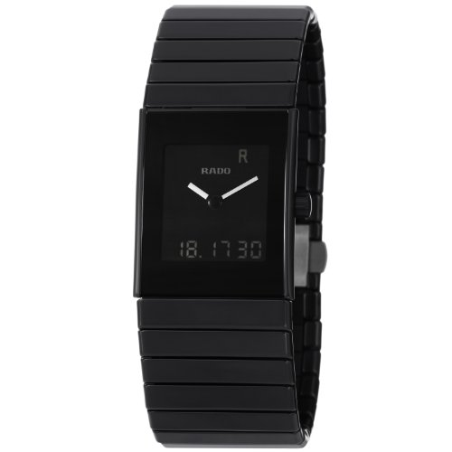 Rado Men's R21854152 Ceramica Ceramic Swiss Quartz Black Dial Watch