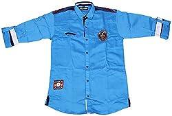 Accurate Boys' Cotton Shirt (SH 144, Blue, 16)